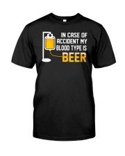 BEER BLOOD TYPE LONG SLEEVE TEE Classic T-Shirt front