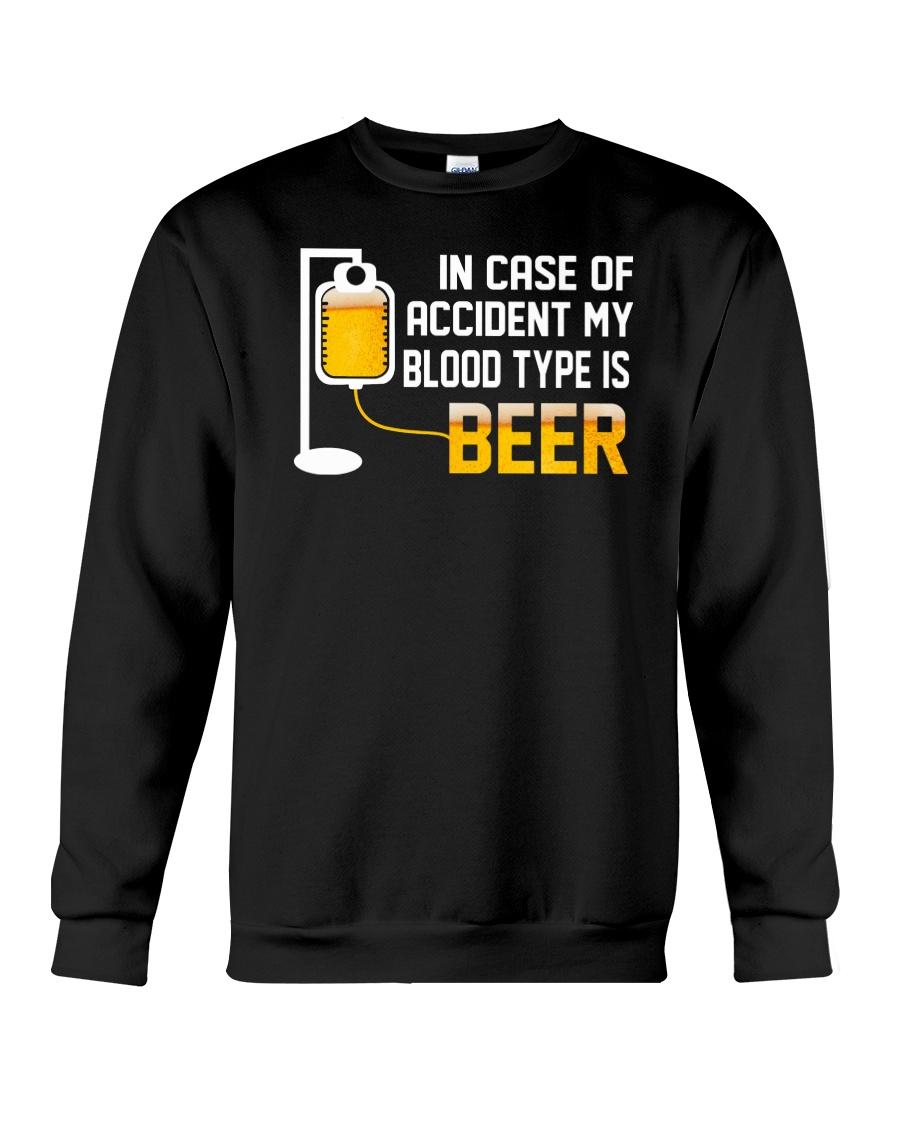 BEER BLOOD TYPE LONG SLEEVE TEE Crewneck Sweatshirt