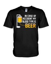 BEER BLOOD TYPE LONG SLEEVE TEE V-Neck T-Shirt thumbnail