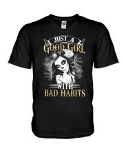 JUST A GOOD GIRL WITH BAD HABITS V-Neck T-Shirt thumbnail
