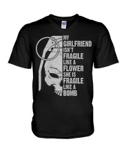 MY GIRLFRIEND IS LIKE A BOMB V-Neck T-Shirt thumbnail