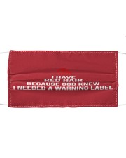 WARNING LABEL Cloth face mask front