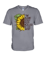 I'M BLUNT BECAUSE GOD ROLLED ME THAT WAY V-Neck T-Shirt thumbnail