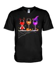 WINE HALLOWEEN PUMPKIN V-Neck T-Shirt thumbnail