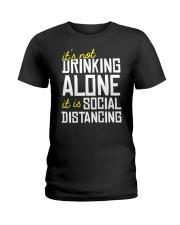 DRINKING ALONE Ladies T-Shirt thumbnail