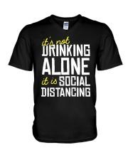 DRINKING ALONE V-Neck T-Shirt thumbnail