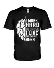 I like expensive beer V-Neck T-Shirt tile