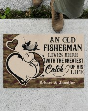 """PERSONALIZED OLD FISHERMAN AND GREATEST CATCH Doormat 22.5"""" x 15""""  aos-doormat-22-5x15-lifestyle-front-01"""