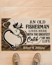 """PERSONALIZED OLD FISHERMAN AND GREATEST CATCH Doormat 22.5"""" x 15""""  aos-doormat-22-5x15-lifestyle-front-02"""