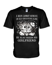 QUARANTINED ALONE LONG SLEEVES T-SHIRT V-Neck T-Shirt thumbnail