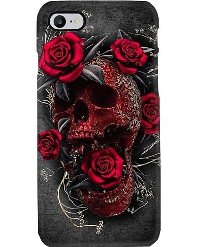Skull red rose