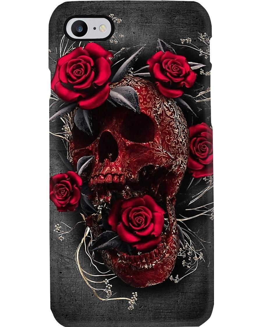 Skull red rose Phone Case