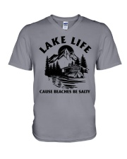 LAKE LIFE CAUSE BEACHES BE SALTY V-Neck T-Shirt tile