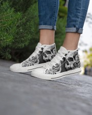GREY SCARY SKULL Women's High Top White Shoes aos-complex-women-white-top-shoes-lifestyle-08