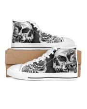 GREY SCARY SKULL Women's High Top White Shoes outside-right-inside-right