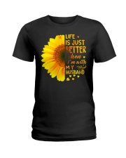 LIFE BETTER WITH SUNFLOWER Ladies T-Shirt front