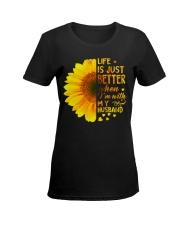 LIFE BETTER WITH SUNFLOWER Ladies T-Shirt women-premium-crewneck-shirt-front
