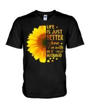 LIFE BETTER WITH SUNFLOWER V-Neck T-Shirt thumbnail