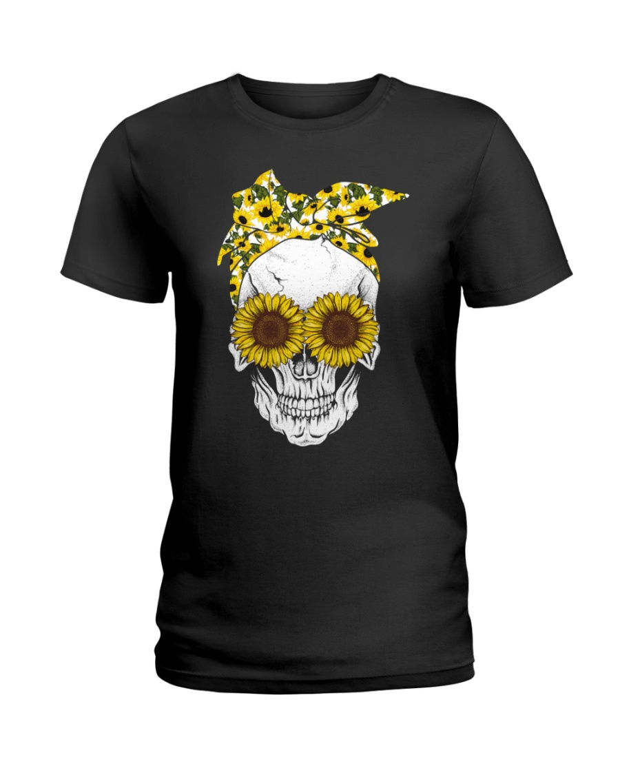 SUNFLOWER SKULL T-SHIRT  Ladies T-Shirt