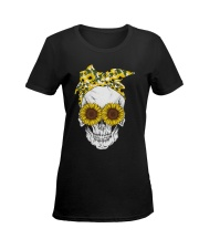SUNFLOWER SKULL T-SHIRT  Ladies T-Shirt women-premium-crewneck-shirt-front
