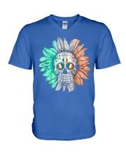 SKULL FLOWER T-SHIRT V-Neck T-Shirt thumbnail