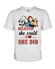 SHE DID T-SHIRT V-Neck T-Shirt thumbnail