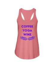 Coffee yoga wine Ladies Flowy Tank front