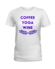 Coffee yoga wine Ladies T-Shirt tile