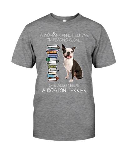 WOMAN READING LOVER BOSTON TERRIER DOG LOVER