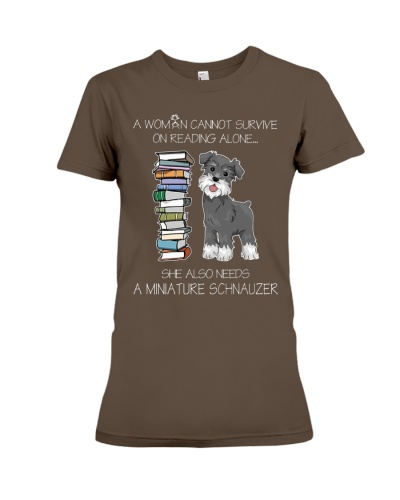 WOMAN READING LOVER MINIATURE SCHNAUZER DOG LOVER