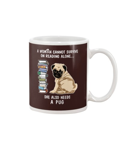 WOMAN READING LOVER PUG DOG LOVER