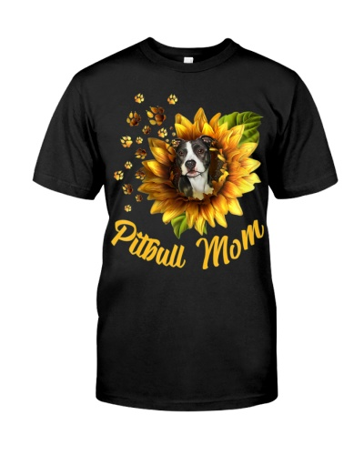 Pitbull Mom Sunflower Mother Day Gift