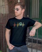 Dog Heartbeat Retro Paw Print Love Dogs Vintage Classic T-Shirt lifestyle-mens-crewneck-front-2