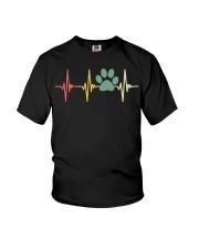 Dog Heartbeat Retro Paw Print Love Dogs Vintage Youth T-Shirt thumbnail