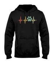 Dog Heartbeat Retro Paw Print Love Dogs Vintage Hooded Sweatshirt thumbnail