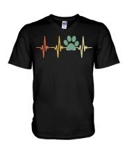 Dog Heartbeat Retro Paw Print Love Dogs Vintage V-Neck T-Shirt thumbnail