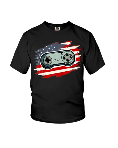 4th Of July Gamer Vintage American Flag Video Game