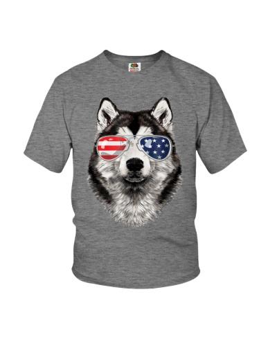 Alaskan Malamute Dog American Flag 4th of july