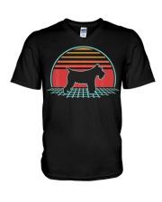 Schnauzer Dog Retro Vintage 80s Style Animal Lover V-Neck T-Shirt thumbnail