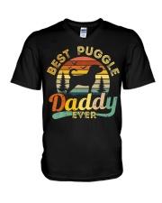 Puggle Dad Best Daddy Dog Lover Retro Vintage V-Neck T-Shirt thumbnail
