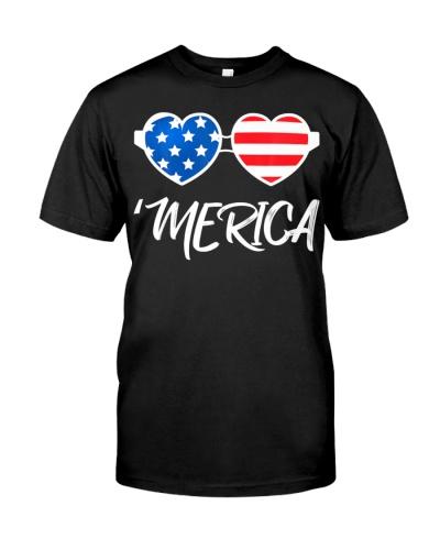 4th of July Merica Heart Sunglasses Gift American