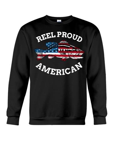 4th of July Fishing American Flag Reel Proud