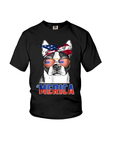 4th of July Patriot Boston Terrier Merica T Shirt