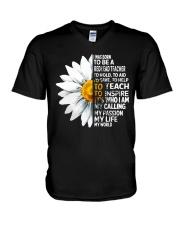 Daisy Flower- I Was Born To Be A Redhead Teacher V-Neck T-Shirt thumbnail