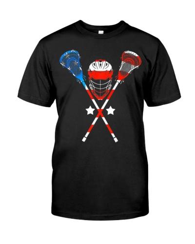 4th Of July American Flag Patriotic Lacrosse T