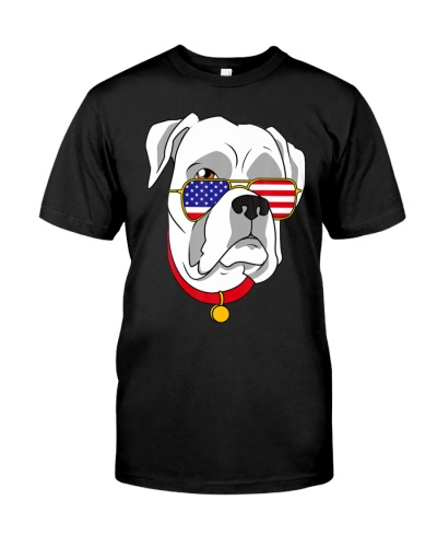 White Boxer Dog Patriotic 4th of July