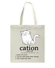 Cat-ion Cation science puns Funny Tote Bag thumbnail