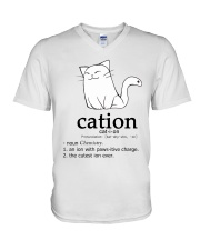 Cat-ion Cation science puns Funny V-Neck T-Shirt thumbnail