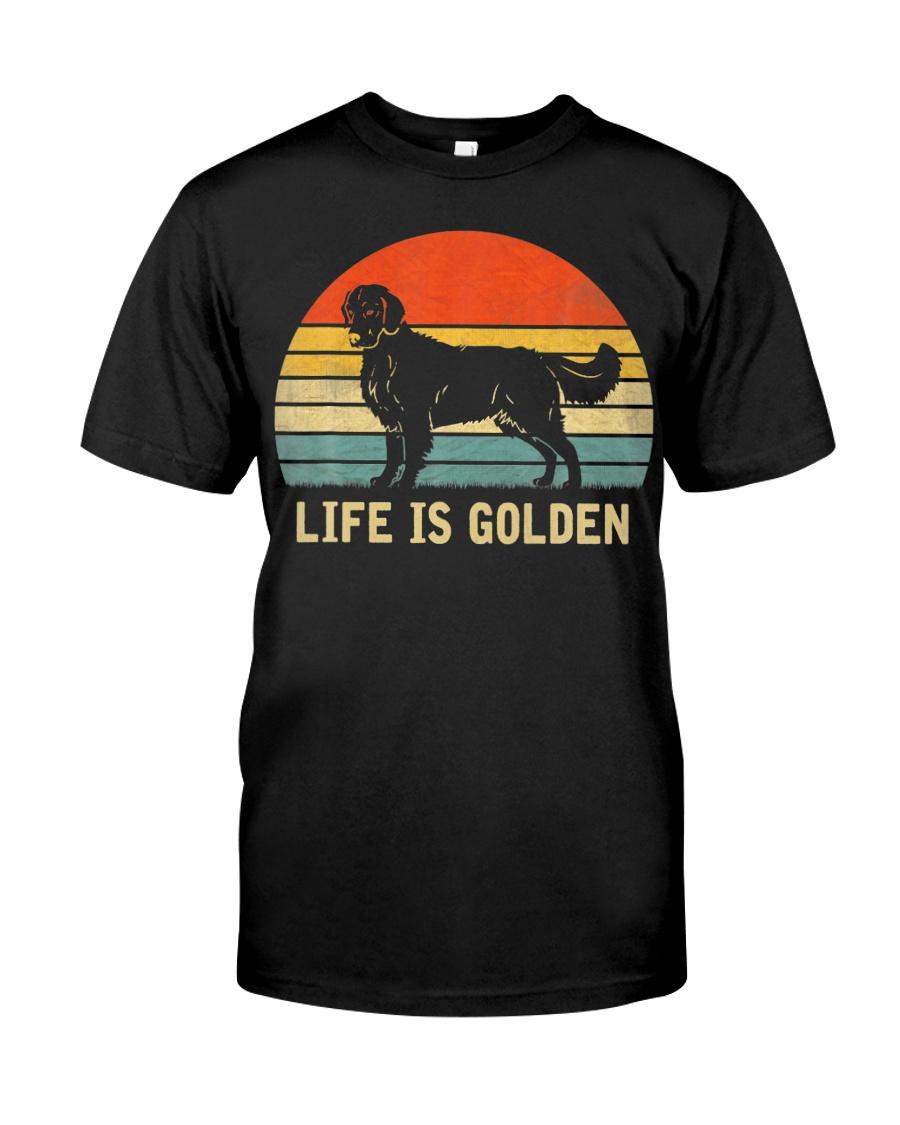 Golden Retriever Dog Life Is Golden Vintage Classic T-Shirt