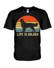 Golden Retriever Dog Life Is Golden Vintage V-Neck T-Shirt thumbnail